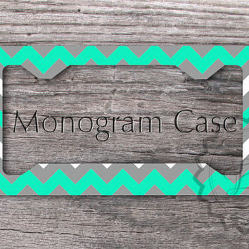 personalized license plate frame mint and gray chevron monogrammed front license frame cute