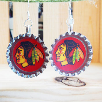 Chicago Blackhawks Hockey Bottle Cap Earrings - NHL Jewelry - Nickel Free - .925 Silver Ear Hooks