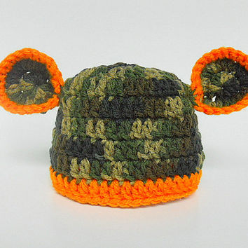Newborn  Boy  Camo Hat With Orange Trim Green Camouflage  Baby  Girl  Cap With Ears  Infant 0 To 3 Months  Children  Fall Hunting Beanie