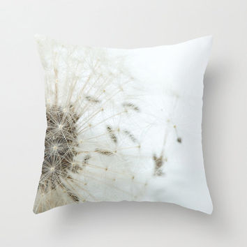 Accent Throw Pillow Floral Dandelion Seeds White Daisy Red Rose Cover Macro Photography Print Polyester