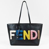"Fendi ""Roll"" Black Multicolor Coated Leather Shearling Logo Small Tote"