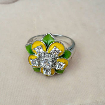 Vintage Sterling Silver Green and Yellow Enamel Clear Crystal Rhinestone Flower Ring - Retro Chic Spring Cheery Bright Graduation B'day Gift