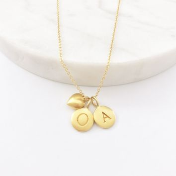 Gold Initials & Puffed Heart Charm Necklace