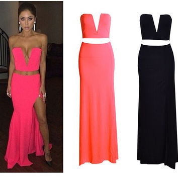 Strapless V-neck Cropped Top Bodycon Maxi Slit Skirt Set