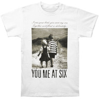 You Me At Six Men's  Together We'll Float Slim Fit T-shirt White Rockabilia
