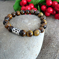 Mens Beaded Bracelet Men Jewelery Tiger Eye Bracelet Stone Bracelet Mens gift Bracelet for men