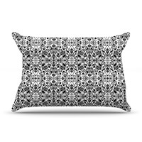 "Mydeas ""Fancy Damask Black & White"" Gray Pillow Case"
