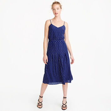 Petite spaghetti-strap dress in polka dot