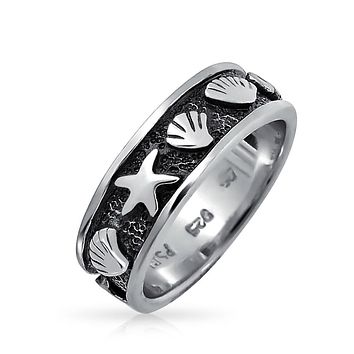 Sea Life Black Starfish Clam Shell Band Ring 925 Sterling Silver 5MM