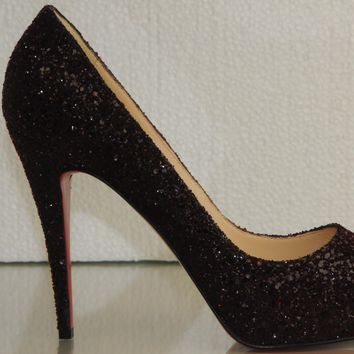 New CHRISTIAN LOUBOUTIN Blood Red GLITTER PRIVE 120 Burgundy SHOES 40.5 RARE!
