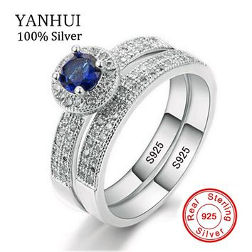 YANHUI Real 925 Sterling Silver Ring Set Blue Zircon Band Two Engagement Diamant Ring Wedding Jewelry For Women R007