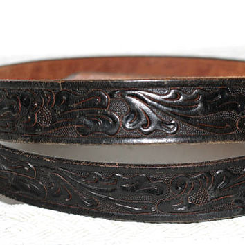 "Men's Tooled Leather Western Belt Black ""Looper's"" Size 44 with Embossed Silver Buckle 