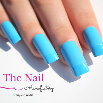 Matte and Glossy Blue Fake Nails -Matte Blue Nails with glossy Tips - French Style - Handpainted False Nail Set - Square Shape - Nail Art