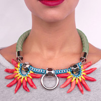 Oversized.Chunky.Bold.Multi-color bib designer necklace.Playful geometrical statement jewelry.