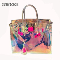 SUNNY BEACH Transparent Hologram Laser Messenger Bag Women Pink Jelly Shoulder Bag Female Harajuku Big Tote Girl Handbags Bolsas