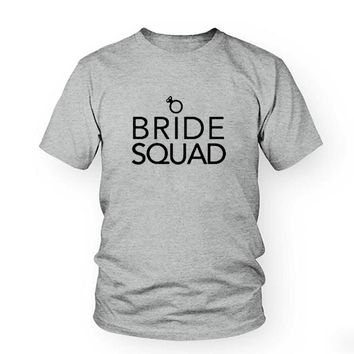 Bride Squad Women Hipster Tops T-shirt Hipster Harajuku Graphic Tee shirt Women Wedding T shirt Best Wife Gift tshirts Tops Tees