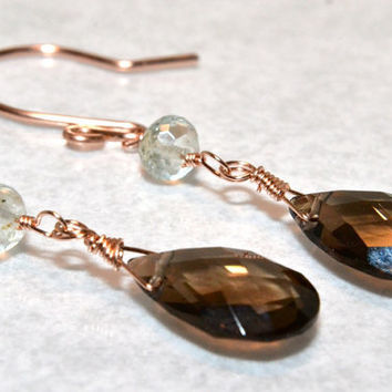 Smoky Quartz, Aquamarine, Rose Gold Wire Wrapped Earrings,  Dangle Earrings, AAA Gemstones, Handmade Jewelry