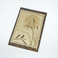 Dragonfly Postcard - Wood Pyrography - Nature Wood Postcard