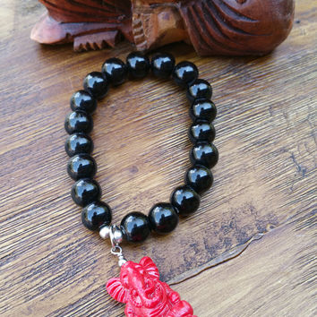 Original Collection- Red Ganesha Charm/Black Beaded Hand Made Bracelet