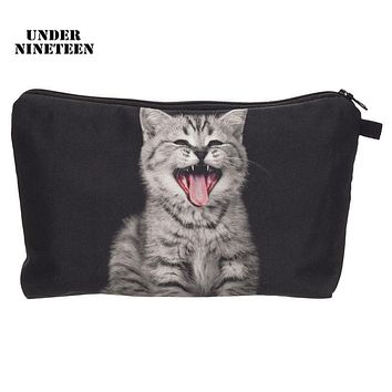 Under Nineteen 2017 Kawaii Cat Portable Travel Makeup Organizer Bag Neceser Beauty Cosmetic Cases Large Capacity Toiletry Pouch
