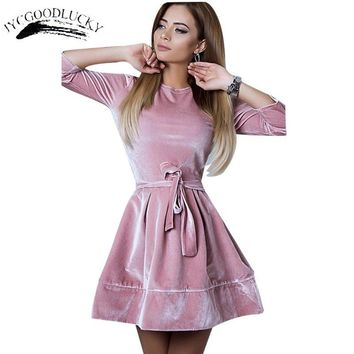 Slim Waist Cute Dresses Women Robe Vestidos 2017 A-Line Winter Dress Fashion Christmas Dress Female Clothing Short