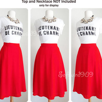 NEW Forever 21 Red RETRO Chic High Waisted Full Flared Skater Midi Length Skirt