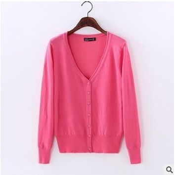 2018 autumn winter cashmere women sweater and cardigans long sleeve big V-neck sexy knitted cardigan soft wool clothes
