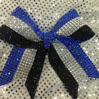 Cheer Bow  Blue Silver Black Rhinestone Bling by CheerLover2Worlds