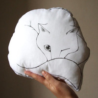white cat  nap decorative pillow cat cushion gift idea for pet lovers handpainted on fabric
