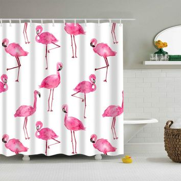 Pink Flamingos Fabric Shower Curtain