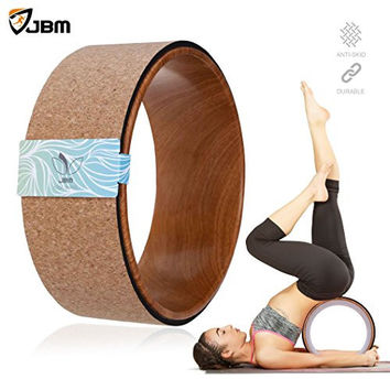 "JBM Cork Yoga Wheel Yoga Prop for Comfortable BackBend Stretch and Deeper Postures Support Relieves Pain and Stress in Your Back Hips Chest and Shoulders Increased Flexibility and Strength 13""x5"""