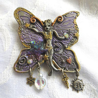 Vintage Garden Nymph Brooch Signed Nanette Enamel Butterfly Fairy with Dangle Charms
