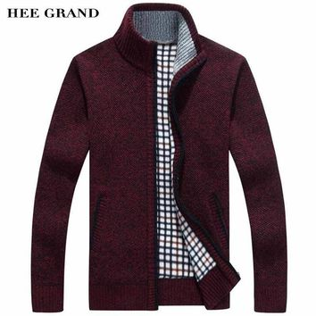 HEE GRAND Men Sweater Casual Style Stand Collar Cotton Material Thin Wool Warm Thick Autumn Winter Cardigan Size M-3XL MZM516