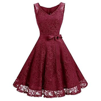 Women's Vintage V Neck Sleeveless Belt Tunic Floral Lace Party Dress Evening A Line Dresses