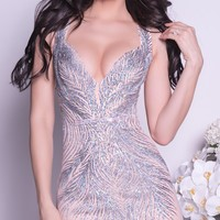 BOSNATE DRESS IN BEIGE WITH SILVER - MORE COLORS