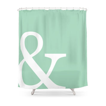 Society6 Vintage Mint Green Ampersand Art Print Shower Curtains