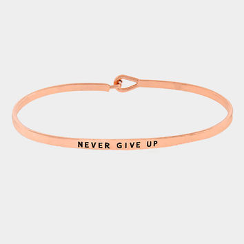 """Never Give Up"" Skinny Mantra Cuff Bracelet"