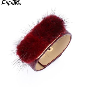 Pipitree Unique Fur Charms Cuff Bracelet Jewelry 6 Colors Adjustable Wristband PU Leather Bracelets & Bangles for Women Gift