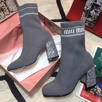 Miu Miu Women Fashion Casual Short Boots High Heels Shoes