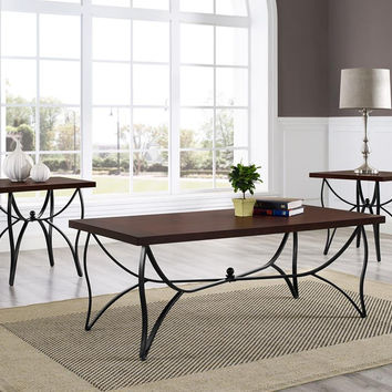 Sanford Brown Oak & Metal Coffee Table Set