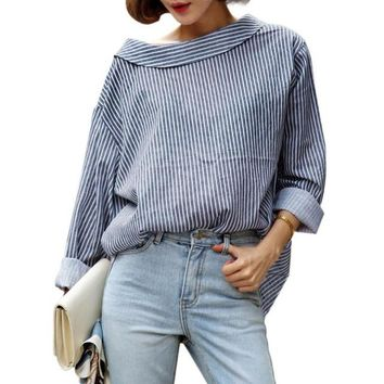 1PC Fall 2016 Fashion Women Blouses Blue Striped Long Sleeved Shirts Women Tops Autumn Spring Ladies Blouses