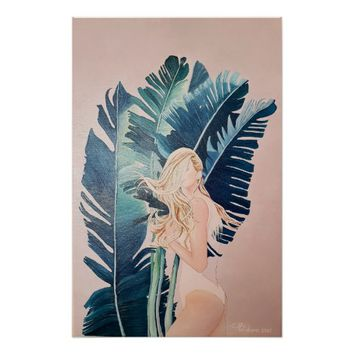 Girl with Tropical Leaves | Poster