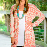 Native Sunset Cardigan, Coral