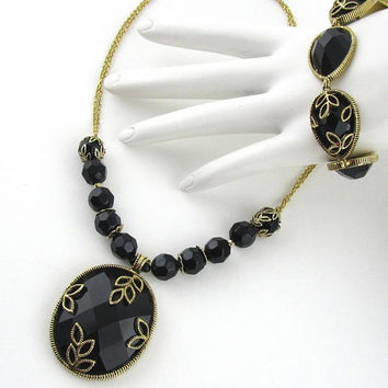 Necklace Set Bracelet Black Gold tone