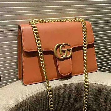 GUCCI Fashion Women Shopping Bag Leather Crossbody Satchel Shoulder Bag Brown