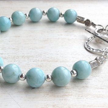 Larimar Beaded Bracelet, Hill Tribe Sterling Silver Beads, Sterling Silver Toggle Clasp, Gemstone Silver Wrapped Dangles
