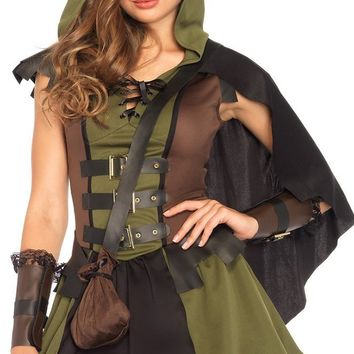 Hero And Thief Army Green Black Brown Sleeveless V Neck Lace Up Flare A Line Mini Dress One Shoulder Hood Cape Halloween Costume