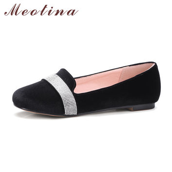 Meotina 2017 Women Flats Casual Boat Shoes Round Toe Glitter Flat Shoes Lady Glitter Ballet Loafers Black Red Blue Big Size 9 10