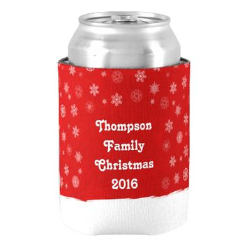 Snowflakes Holiday Design with a Red Background Can Cooler