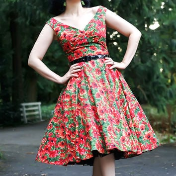 Saturday Night Pin Up Dress in Red Poppy Print